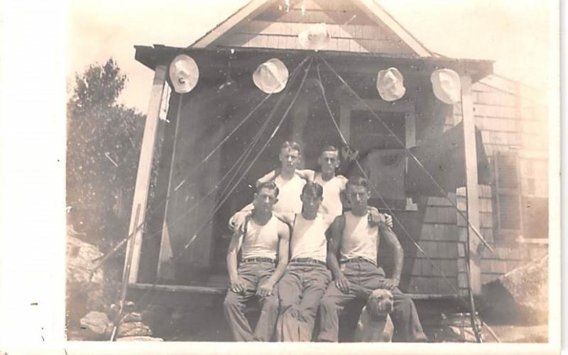 Military Men Real Photo World War II Stain on back