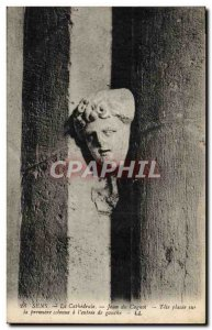 Old Postcard Sens La Cathedrale Jean Du Cagnol head placed on the first colum...