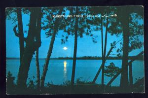 Fond Du Lac, Wisconsin/WI Postcard, Moonlight Over Lake