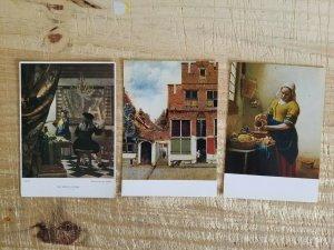 JAN VERMEER.A LOT OF 3 VTG UNUSED ART POSTCARDS*P17