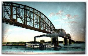 Early 1900s Merchants Bridge St. Louis, MO & Mississippi Paddlewheeler Postcard