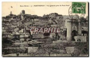 Parthenay Old Postcard General View from new bridge