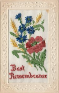EMBROIDERED, 1900-10s; Best Remembrance, Flowers