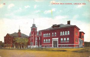 Lincoln Nebraska High School Street View Antique Postcard K80468