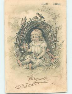 Pre-1907 foreign BIRDS WATCH CUTE FRENCH GIRL COLLECT WILDFLOWERS IN DRESS J5068