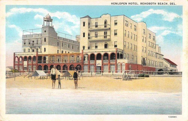 Rehoboth Beach Delaware Henlopen Hotel View from Beach Postcard AA37170