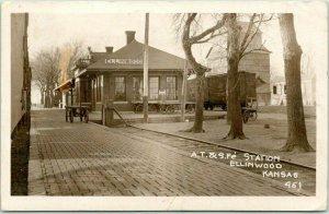 1917 ELLINWOOD, Kansas RPPC Real Photo Postcard AT&SF SANTA FE RAILROAD DEPOT