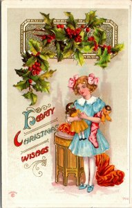 ANTIQUE HEARTY CHRISTMAS WISHES EMBOSSED POSTCARD - GIRL w/ DOLLS TOYS
