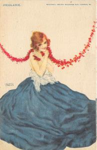 Raphael Kirchner Blue Dressed Beautiful Woman Postcard