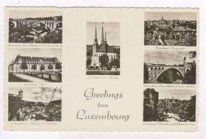 RP  Greetings from Luxembourg, 20-40s 7-view postcard