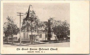 ASBURY PARK, New Jersey Postcard The Grand Avenue Reformed Church Street View