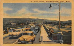 Mexico Puente International Bridge Tijuana Vintage Cars Promenade Postcard