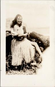 Hawaiian Hula Dancer Hawaii HI ?? Beautiful Woman RPPC Postcard E46