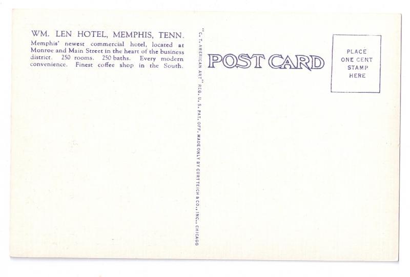 William Len Hotel Memphis Tennessee Curteich Linen Postcard