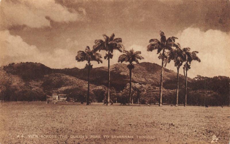 TRINIDAD BRITISH WEST INDIES-QUEENS PARK TO SAVANNAH-SEPIA-RAPHAEL TUCK POSTCARD
