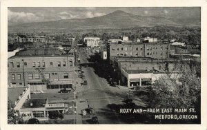 Medford OR East Main Street Aerial View Gas Station Downtown Postcard