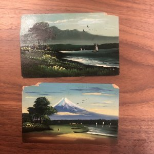 Lot of 2 : Japan Old Genuine Hand Painted Postcard Landscape Boats Water River