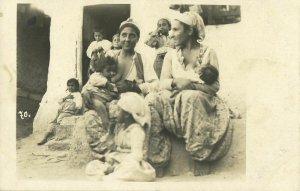 Gypsy Roma NUDE Girls Nursing, Breast Feeding (1930s) RPPC Postcard