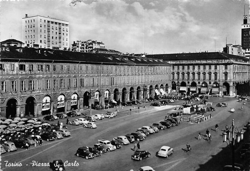 Italy Torino Piazza S. Carlo, auto cars terrace commerce animated square 1953