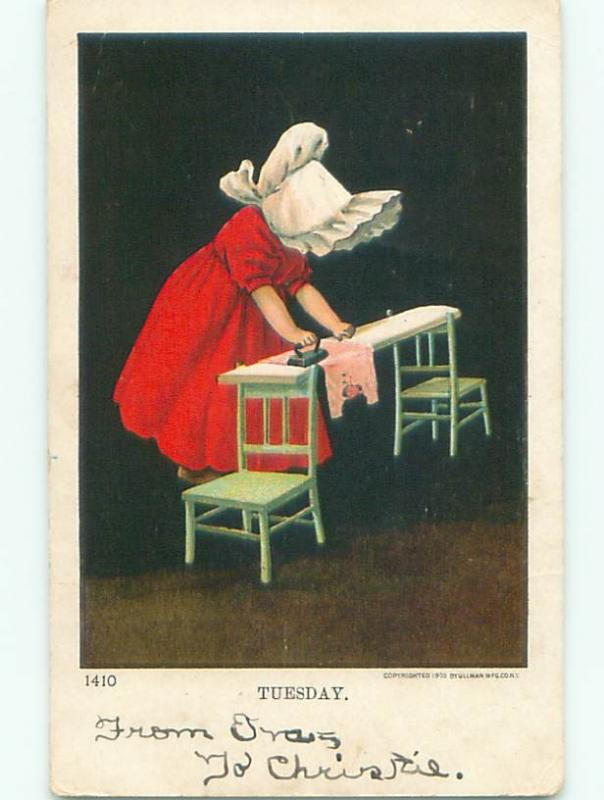 1905 Sunbonnet Twin DOES IRONING WITH ANTIQUE IRON W7361