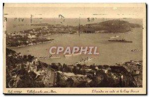 Old Postcard Villefranche Sur Mer L & # 39escadre in bay and Cap Ferrat Charter