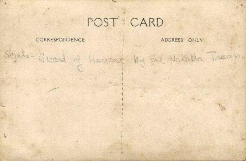 malta, VALLETTA, Scout Guard of Honor, Scouting, Stamp Society (1920s) RPPC
