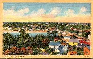 Michigan St Ignace Panoramic View Curteich