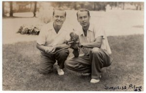 102617 RPPC POSTCARD TWO MEN WITH LITTLE MONKEY SURPRISE PICTURE 3 1945