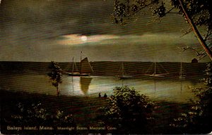 Maine Bailey's Island Mackeral Cove Moonlight Scene 1911