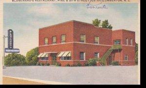North Carolina Lumberton Blanchards Restaurant 1952