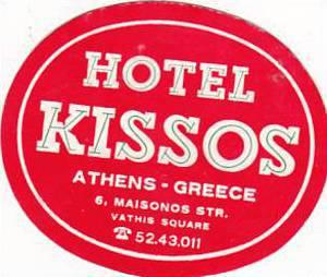 GREECE ATHENS HOTEL KISSOS VINTAGE LUGGAGE LABEL