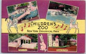 1940s Bronx, New York Postcard CHILDREN'S ZOO New York Zoological Park Linen