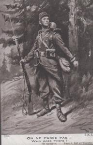 Who Goes There Oh Ne Passe Pas Propoganda French Antique WW1 Military Postcard