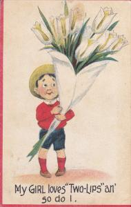 Boy carrying bouquet of White Tulip Flowers, My Girl loves Two-Lips an so ...