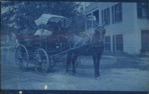 Leominster MA Steam Laundry Wagon c1907 Cyanotype Real Photo Postcard spg