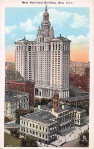 New Municipal Building, Manhattan, New York City, Early Postcard, Unused
