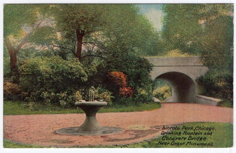 Lincoln Park, Chicago, Drinking Fountain and Concrete Bridge near Grant Monument