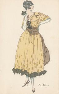 ART DECO ; Female wearing pale yellow dress, long brown scarf belt, 1910-20s
