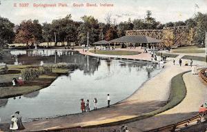South Bend IN Springbrook Amusement Park Roller Coaster~Kids @ Pond~Shrubs 1909