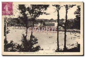 Old Postcard Perros Guirec C N La Plage through the Pines