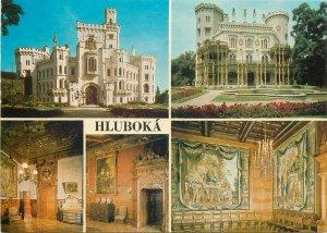 Postcard Czech republic multi view hluboka castle architecture chandelier palace