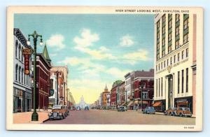 Postcard OH Hamilton High Street Looking West Vintage Linen K16