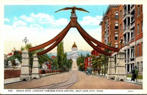 Utah Salt Lake City Eagle Gate Looking Towards State Capitol Curteich