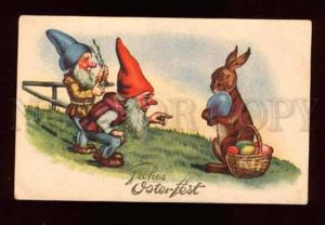 015549 Funny GNOME & Cute BUNNY Hare Rabbit Vintage EASTER PC