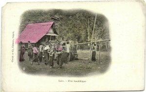 PC CPA LAOS, FÉTE BOUDDHIQUE, Vintage Postcard (b26723)