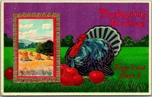 c1910s THANKSGIVING Embossed Postcard Turkey Enjoy it and Share It UNUSED