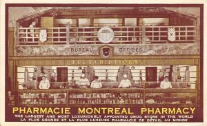 Montreal Quebec~Pharmacy~People @ Prescription Counter~Lady @ 2nd Floor~Postcard