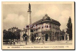 Old Postcard Bank Chambery Fountain of Elephants The Societe Generale