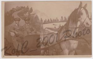 RPPC Vintage Postcard WWI Soldiers in Uniform Horse and Buggy Studio Postcard