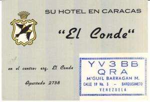 Venezuela Card El Conde Hotel 1959